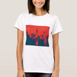 Dotted Red Retro Style Pop Art New York City T-Shirt