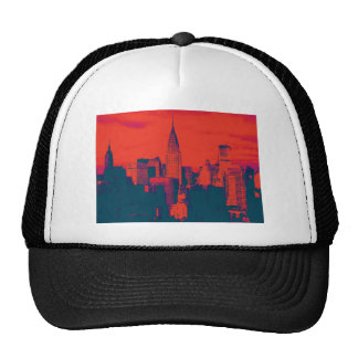 Dotted Red Retro Style Pop Art New York City Trucker Hat