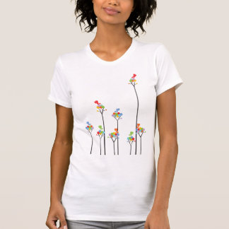Dotted Trees & Cute Birds Colorful Custom T-shirt