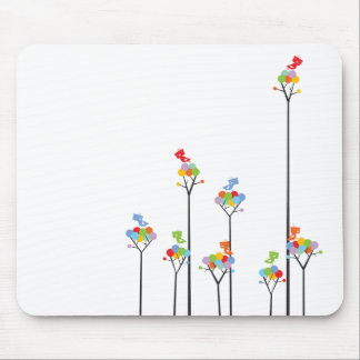 Dotted Trees & Cute Birds Colorful Gift Mousepad
