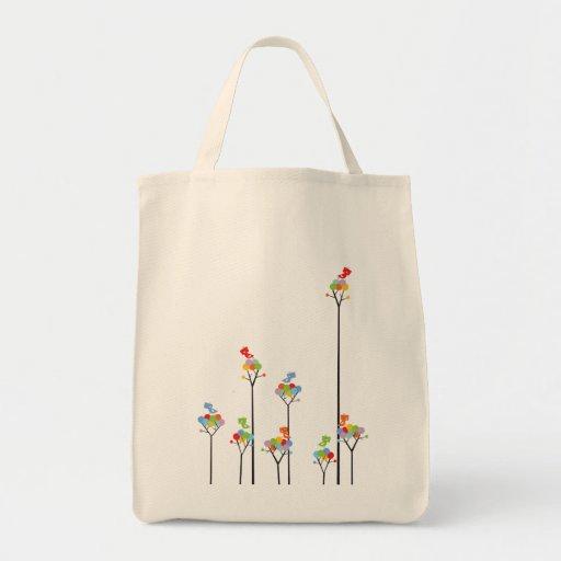 Dotted Trees & Cute Birds Fun Custom Tote Bag