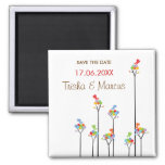 Dotted Trees & Cute Birds Save Date / Gift Magnet