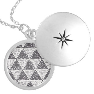 Dotted Triangles Pattern #2 Round Locket Necklace