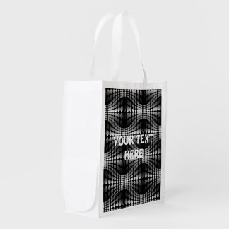 Dotted Waves Wallpaper black & white Grocery Bag