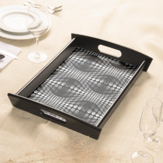 Dotted Waves Wallpaper black & white Serving Tray