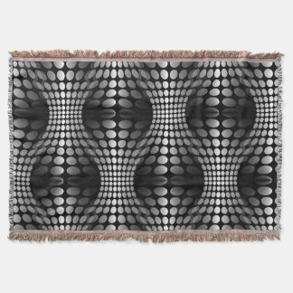 Dotted Waves Wallpaper black & white Throw