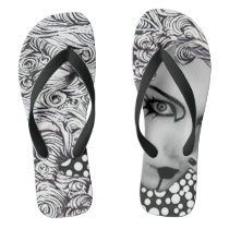 Dotted woman and owl in black and white flop flops flip flops