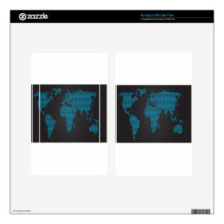 Dotted world map design decals for kindle fire