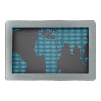 Dotted world map design rectangular belt buckle