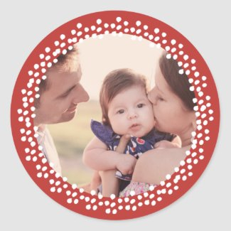 Dotted Wreath Holiday Photo Sticker