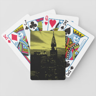 Dotted Yellow Black New York City Bicycle Playing Cards