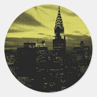 Dotted Yellow Black New York City Classic Round Sticker