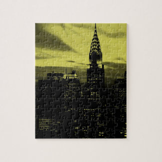 Dotted Yellow Black New York City Jigsaw Puzzle