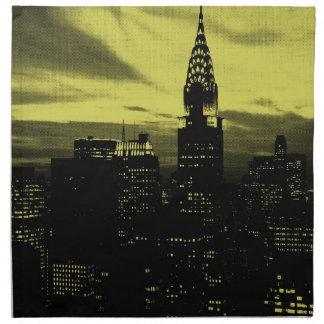 Dotted Yellow Black New York City Napkin