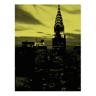 Dotted Yellow Black New York City Postcard