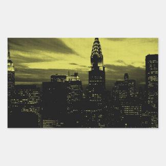 Dotted Yellow Black New York City Rectangular Sticker