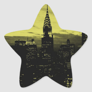Dotted Yellow Black New York City Star Sticker