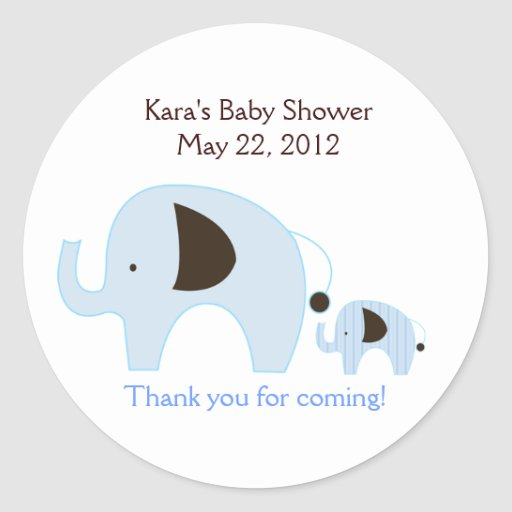 Dottie Elephant Blue Baby Shower Favor Sticker