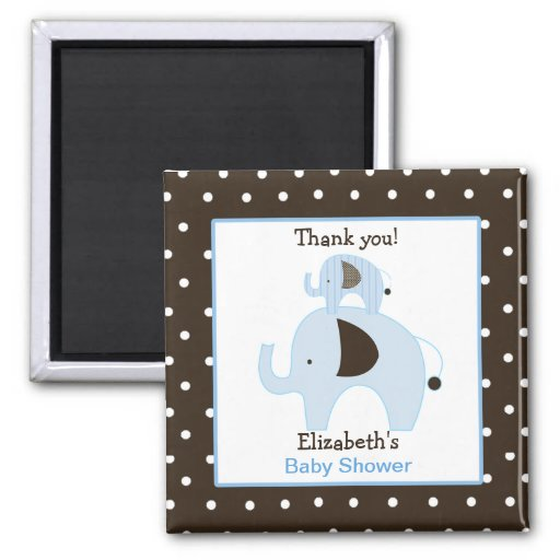 Dottie Elephant (Blue) Square Favor Magnet