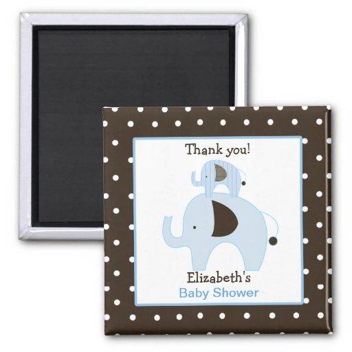 Dottie Elephant (Blue) Square Favor Magnet