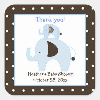 Dottie Elephant (Blue) Square Favor Stickers