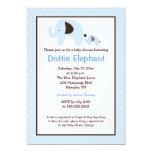 Dottie Elephant (Light Blue) Baby Shower Invite