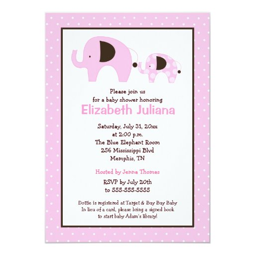 Dottie Elephant (Light Pink) Baby Shower Invite
