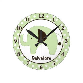 Dottie Elephant Personalized Wall Clock (Green)