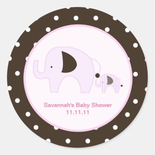 Dottie Elephant (Pink) Favor Stickers 3-inch