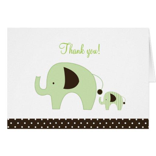 Dottie Green Elephant Folded Thank you notes