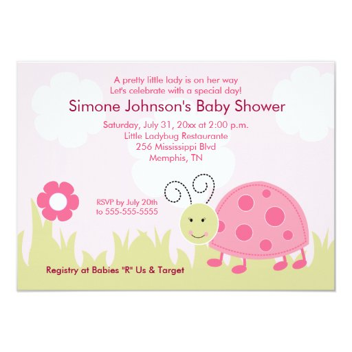 Dottie Ladybug Girl Baby Shower Invitation 4x6