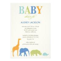 Dotty Animals Baby Shower Invitation - Blue