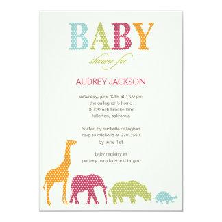 Dotty Animals Baby Shower Invitation - Pink