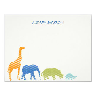 Dotty Animals Thank You Cards - Blue