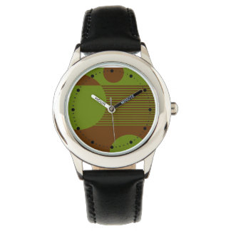 Dotty Bubbles Geometric Lines (olive brown) Wristwatch