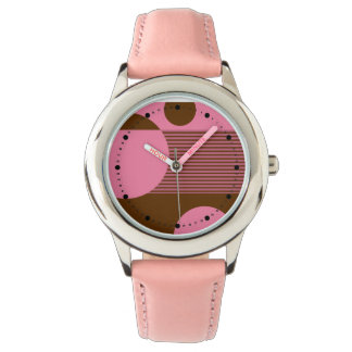 Dotty Bubbles Geometric Lines (pink brown) Wristwatches