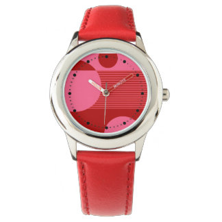 Dotty Bubbles Geometric Lines (red pink) Wristwatch