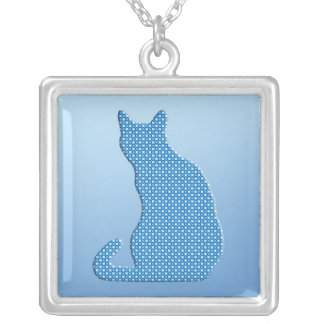 Dotty Cat - shades of blue Square Pendant Necklace