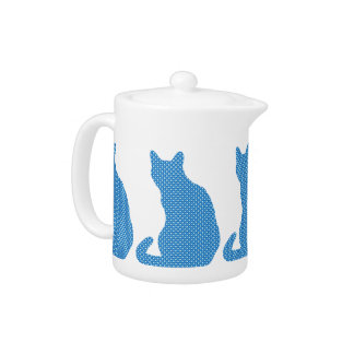 Dotty Cat - shades of blue Teapot