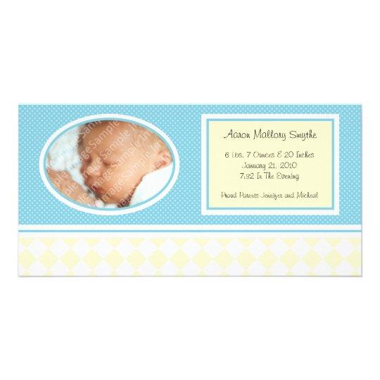 Dotty Checks Boy New Baby Birth Photo Cards