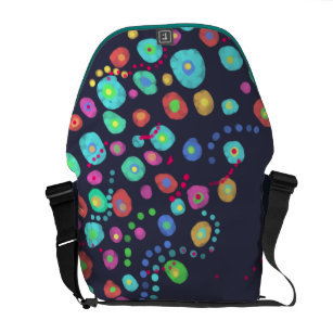 4336e1891507f3 Dotty circles abstract pattern messenger bag