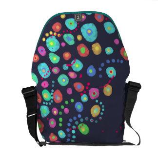 Dotty circles abstract pattern messenger bag