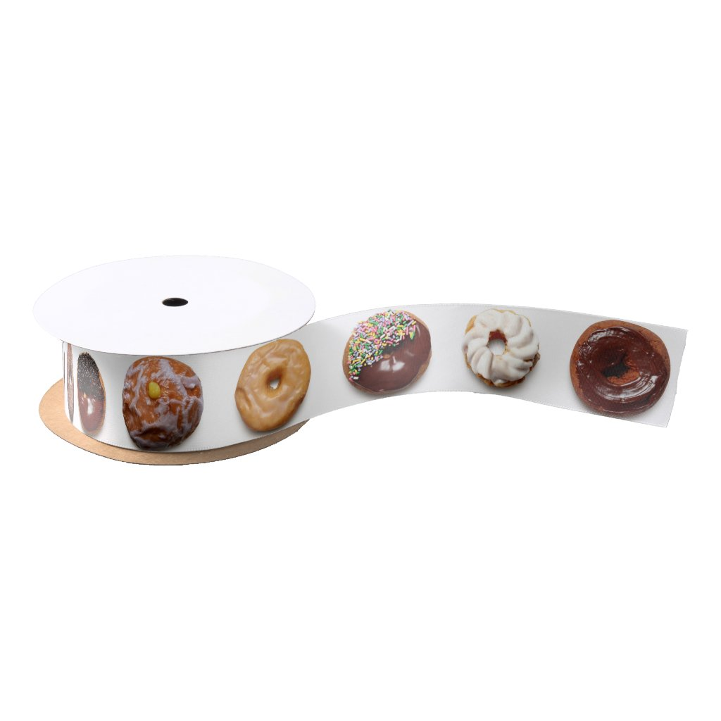Dotty Donuts white satin ribbon