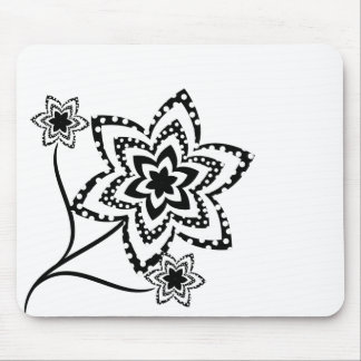 Dotty flowers in black and white mouse pad