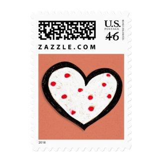 Dotty Heart kraft red Square Stamp stamp