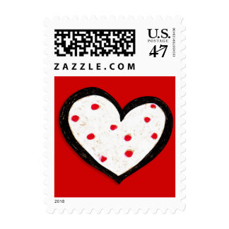 Dotty Heart red Square Stamp