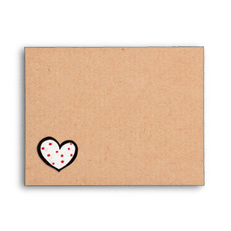 Dotty Hearts kraft A2 Note Card Envelope