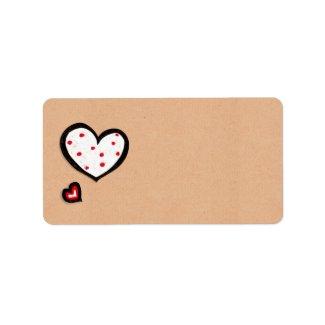 Dotty Hearts kraft Address Label label