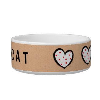 Dotty Hearts kraft Cat Bowl