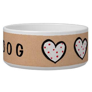 Dotty Hearts kraft Dog Bowl